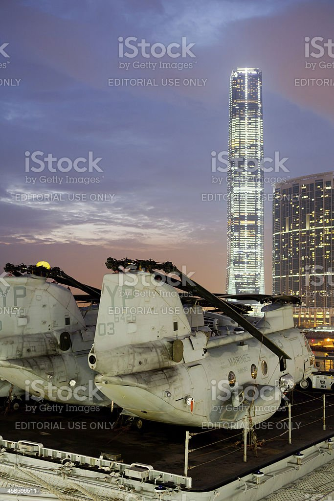 The USS Boxer in Hong Kong stock photo