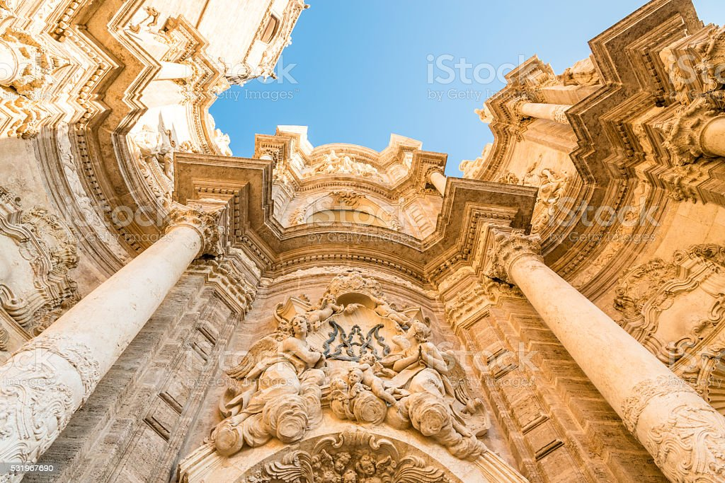 The Valencia Cathedral. Details of the facade stock photo