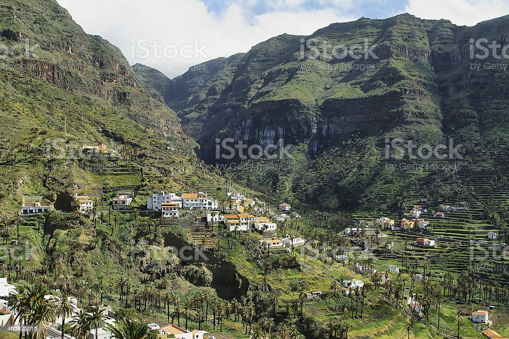 The Valle Gran Rey in  La Gomera stock photo