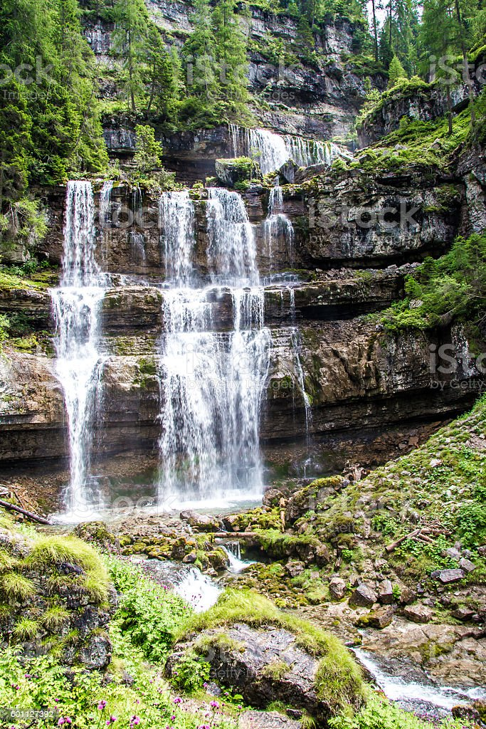 The Vallesinella waterfall in the dolomites of Trentino, Italy stock photo
