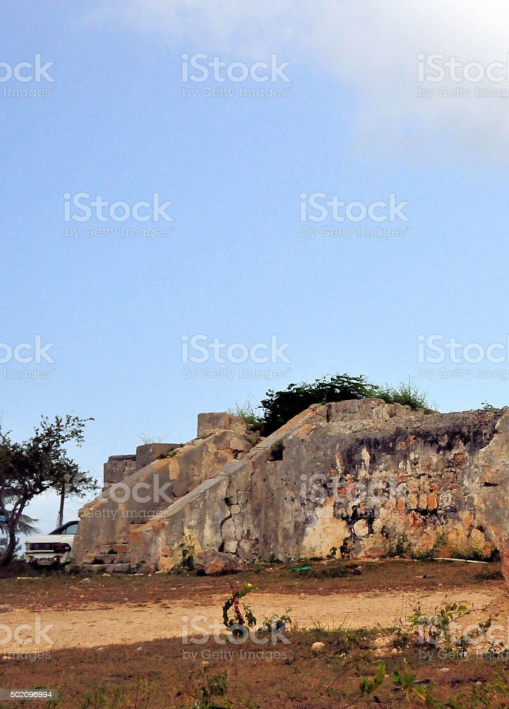 The Valley, Anguilla: Old Courthouse ruins stock photo