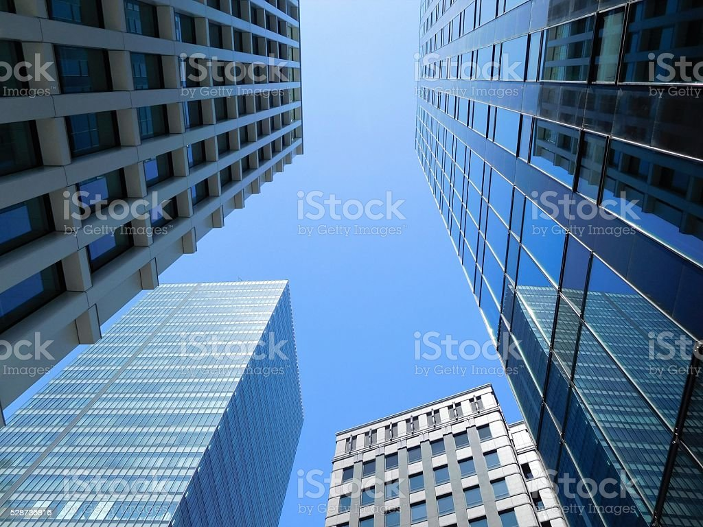 The valley between tall buildings stock photo