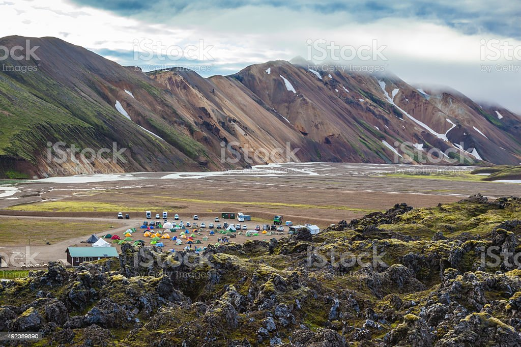 The valley is large tourist camp stock photo