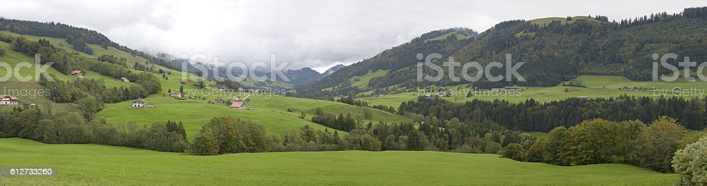 The valley of Javro - Cerniat - Valsainte - Mossettes stock photo