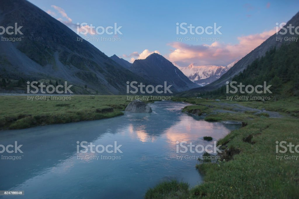 The valley of the lake Ak-kem, mountain of Beluha. Altai landscape, Russia stock photo