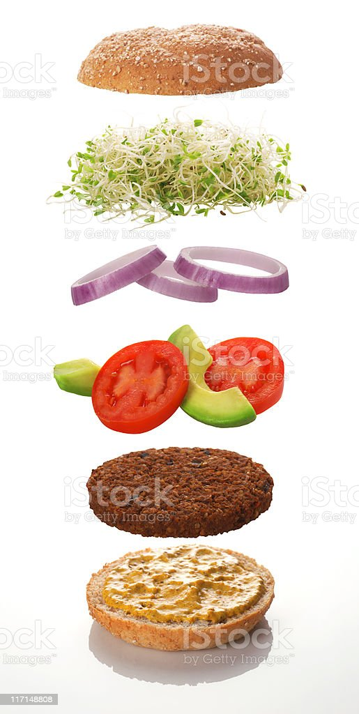 The various levels of a veggie burger stock photo