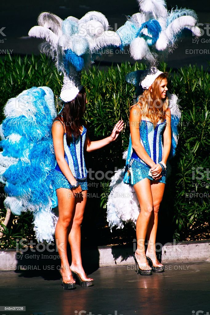 The Vegas Strip with showgirls stock photo
