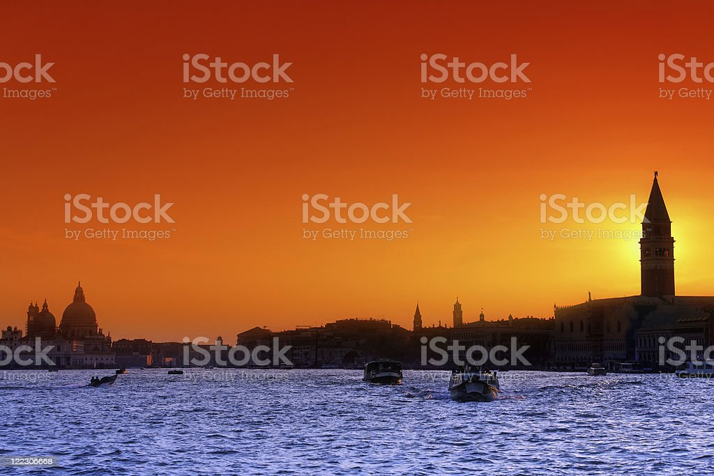 The Venetian lagoon at sunset royalty-free stock photo