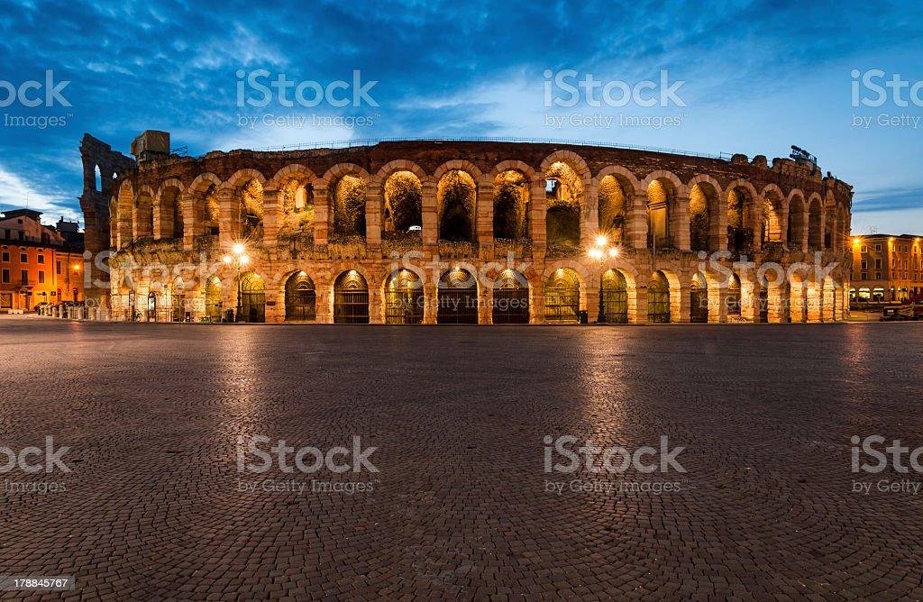 The Verona amphitheater arena in Italy stock photo