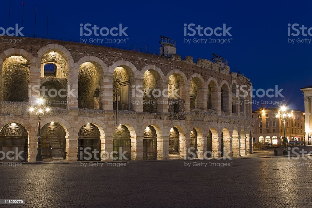 The Verona Arena at night with the interior lights lit stock photo
