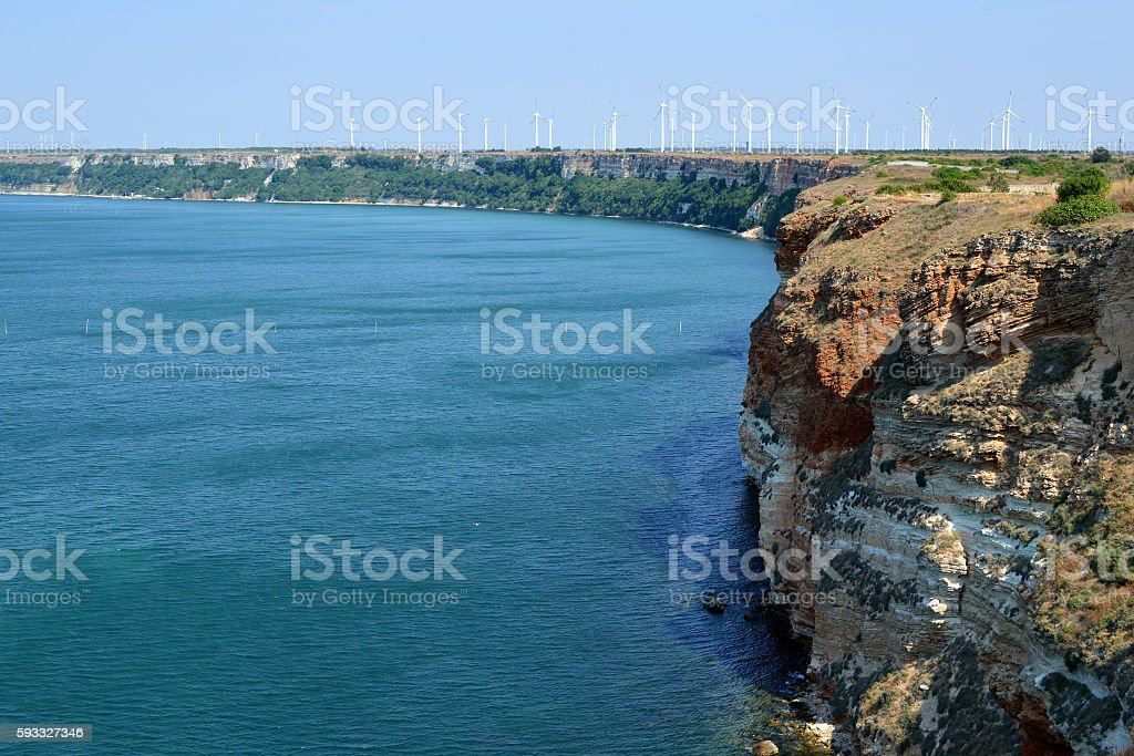 The vertical cliffs of Kaliakra Cape stock photo