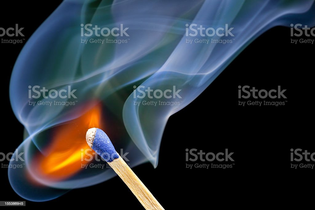 The Very Instant When a Match Bursts into Flame stock photo