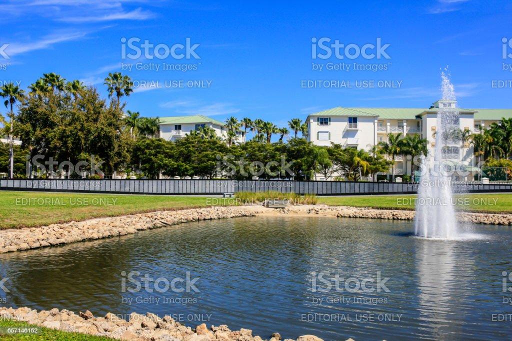 The Veteran's Memorial Wall and fountain in Punta Gorda, Florida. stock photo