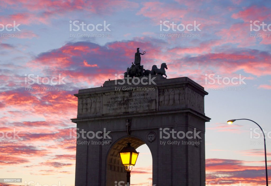 The Victory Arch of Madrid stock photo