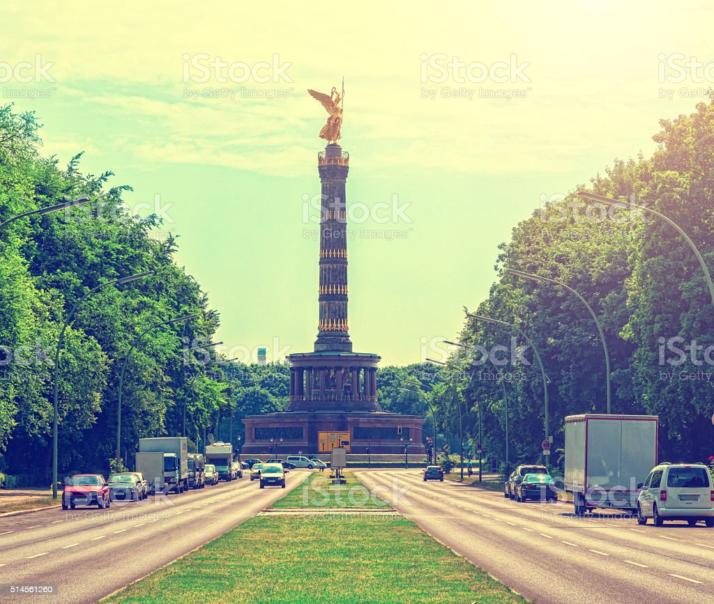 The Victory column, Siegessäule in Berlin, Germany - cross-processed stock photo