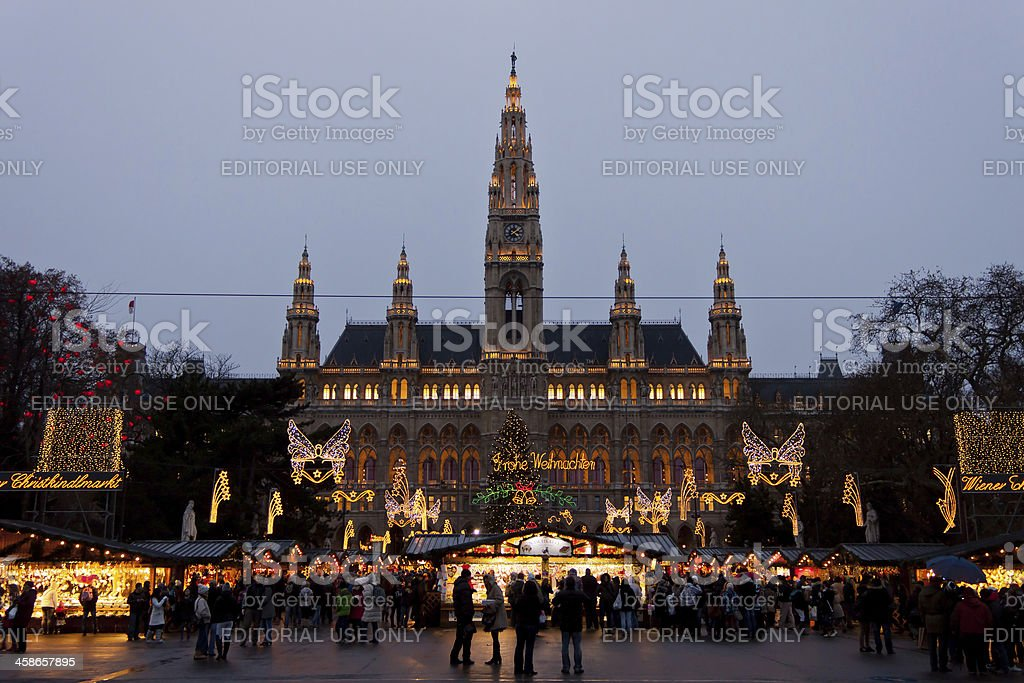 The Vienna City Hall (Rathaus) with Christmas Market. stock photo