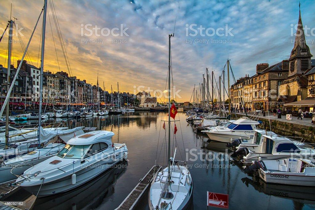 The Vieux Bassin Honfleur sunset colours stock photo