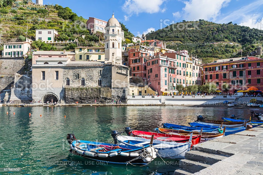 The view at Vernazza's small harbor in Vernazza stock photo