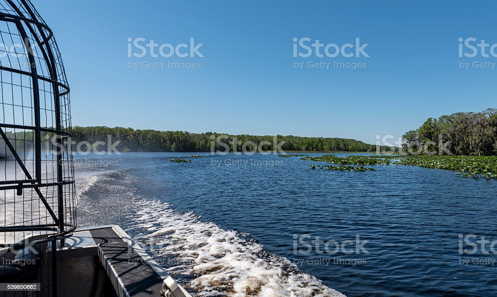 the view behind an air boat on a Florida lake stock photo