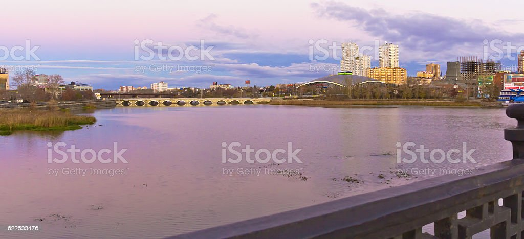 The view from bridge on the river and center city. stock photo