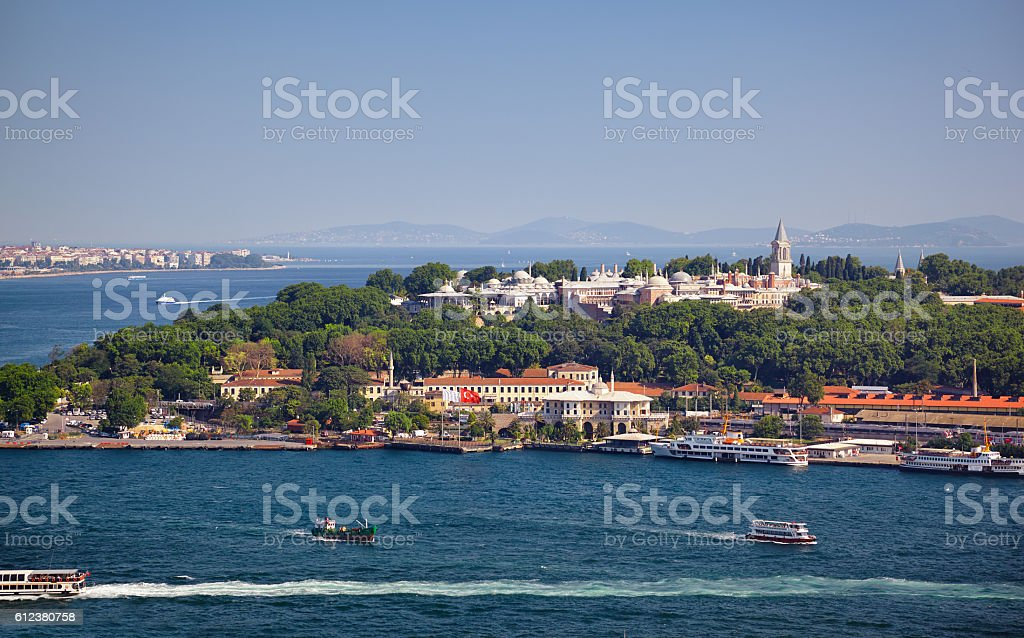 The view from Galata Tower to the Sarayburnu stock photo