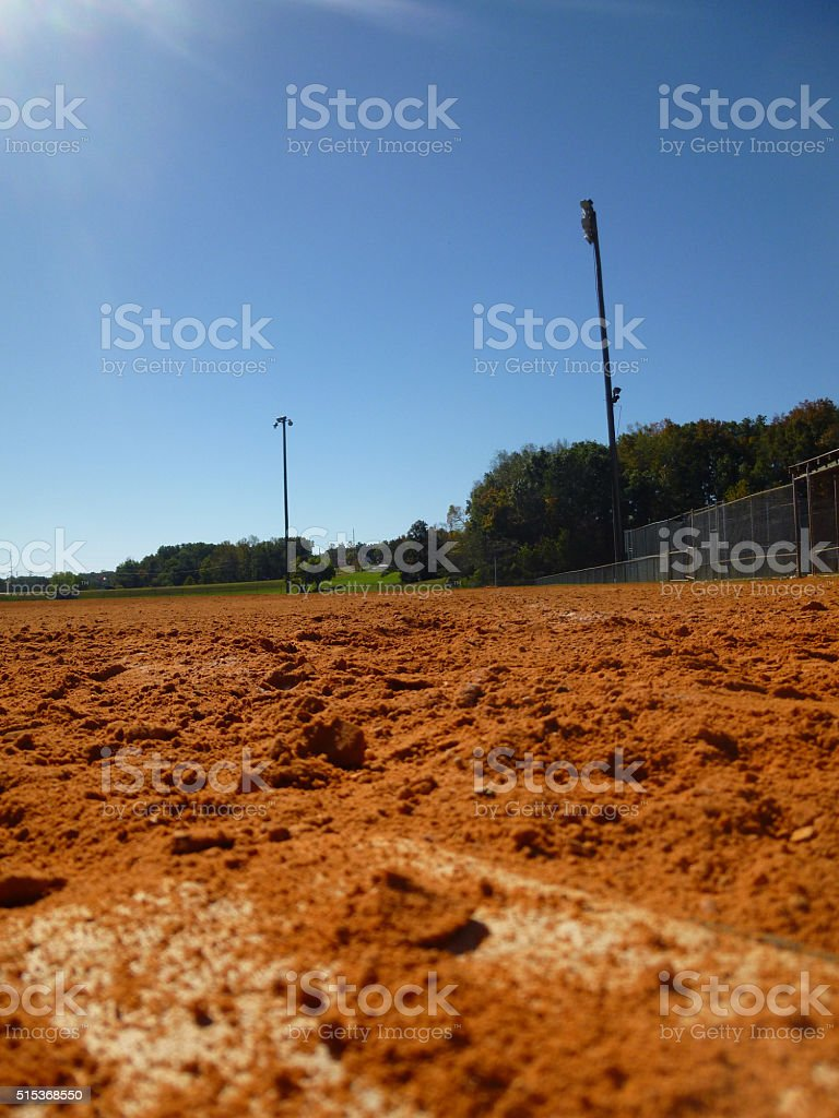 the view from home plate to first stock photo