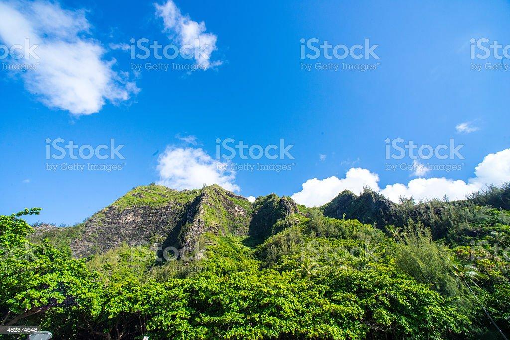 The View from Ke'e Beach, Kauai, Hawaii stock photo