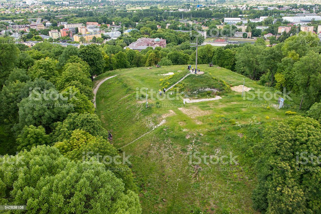 The view from the bell tower ner Basilica in Chelm stock photo
