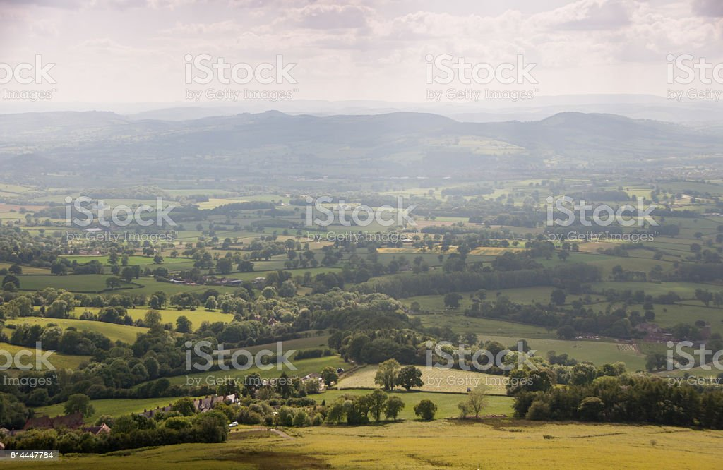 The view from the Clee Hills stock photo