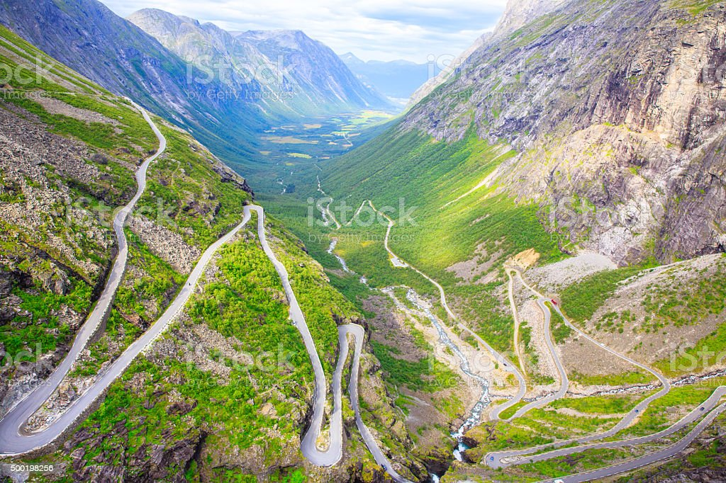 The view from the height of the trollstigen stock photo