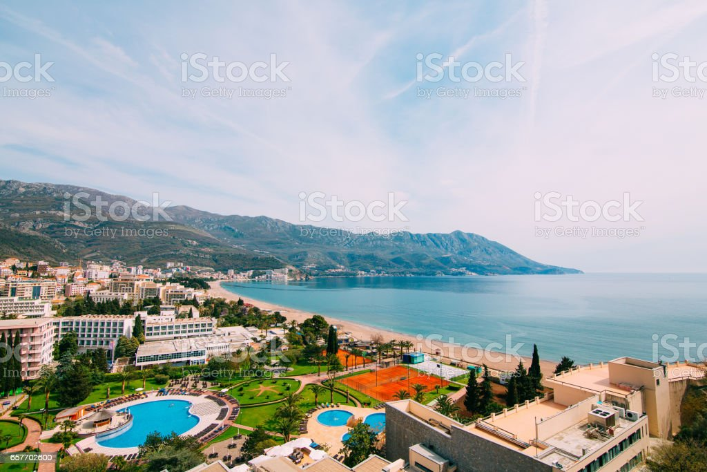 The view from the hotel on the promenade of Becici stock photo