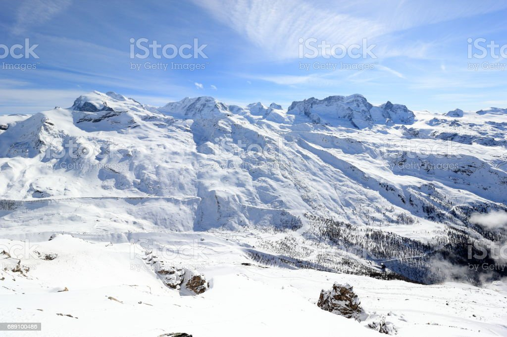 The view from the Rothorn (3,103 m) showcases the highest peaks of the Swiss Alps. Valais, Switzerland. stock photo