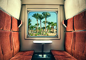 The view from the train window at the palm trees