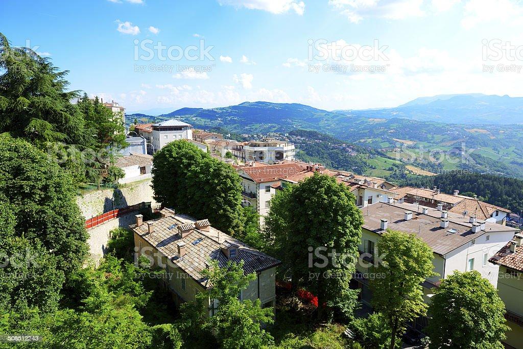 The view from Titano mountain, San Marino stock photo