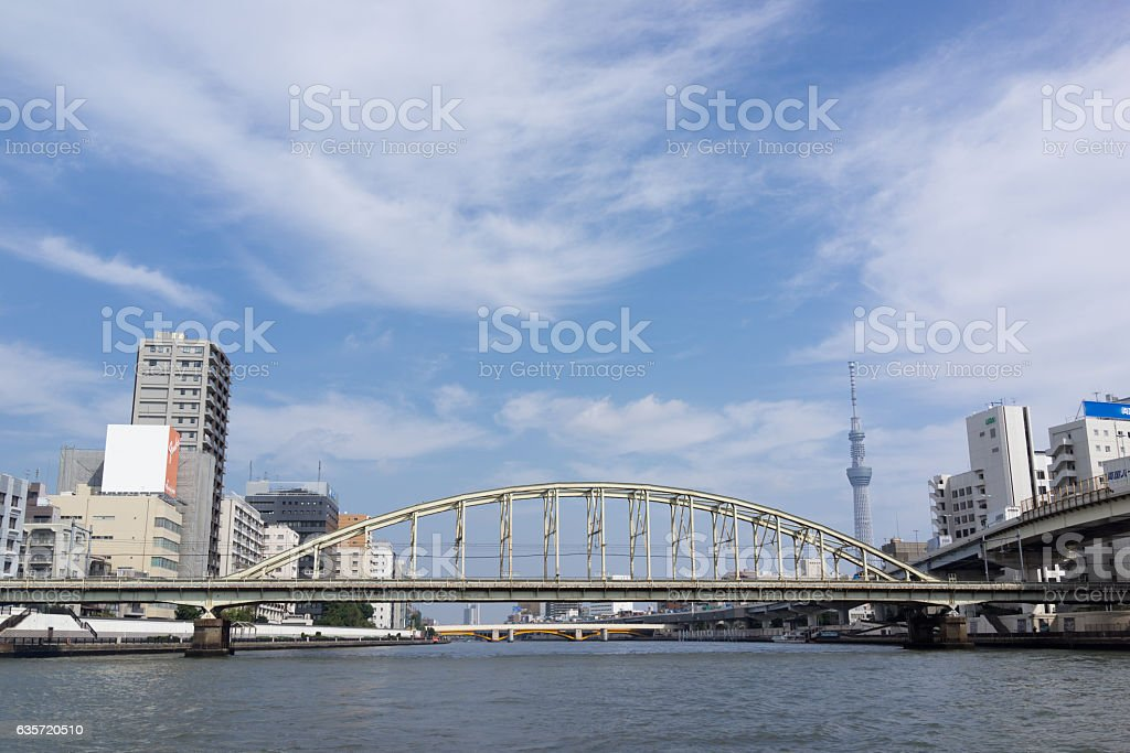 The view in railway bridge and Tokyo sky tree stock photo