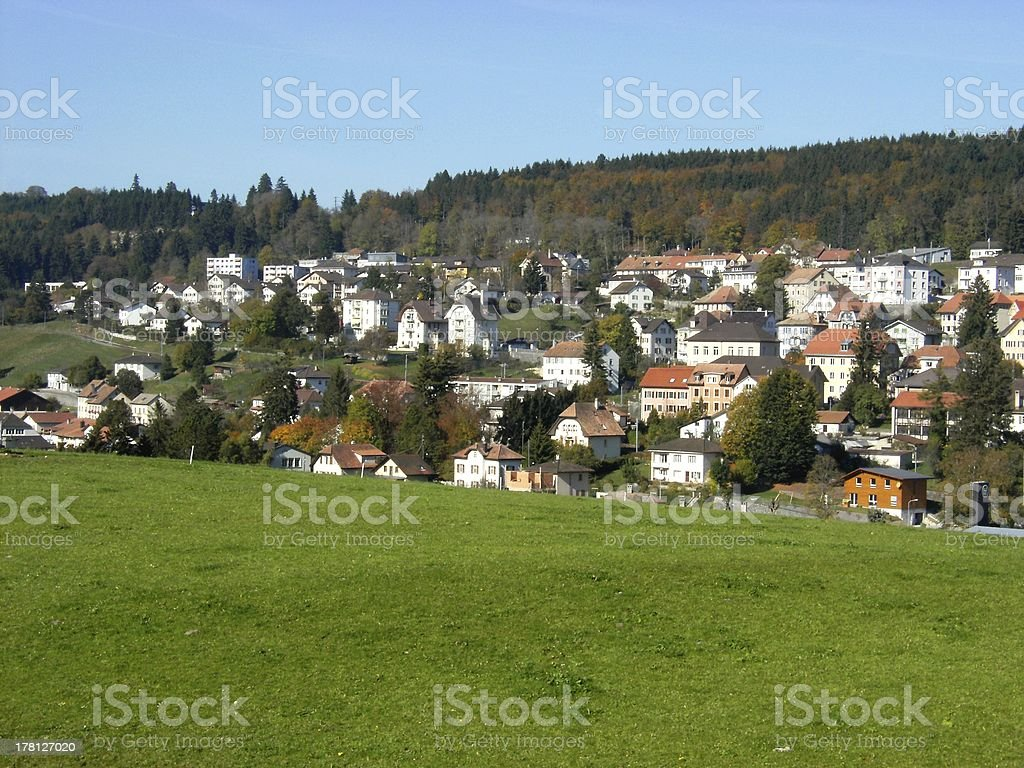 The view local swiss village stock photo