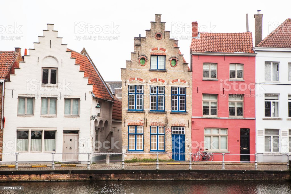 The view of Bruges from the river. stock photo