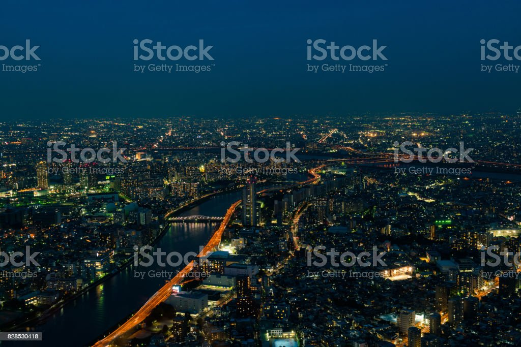 The view of city night from the top level stock photo