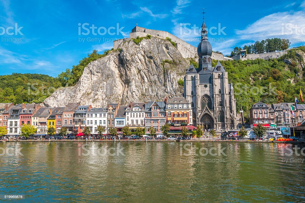 The view of Dinant city in Belgium stock photo
