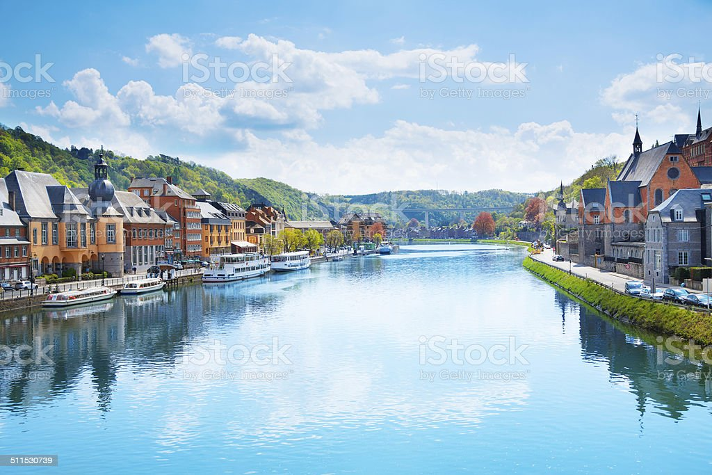 The view of Dinant from Meuse river in Belgium stock photo