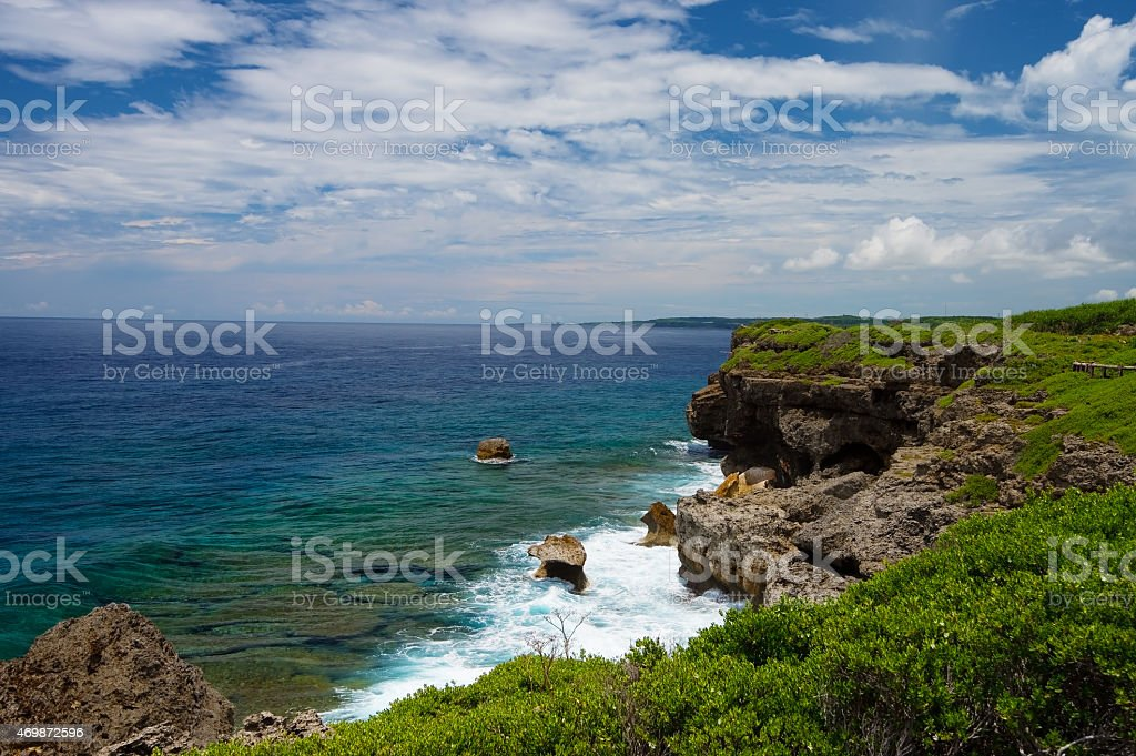 The View of East China Sea from HIGASHI HENNA Cape stock photo