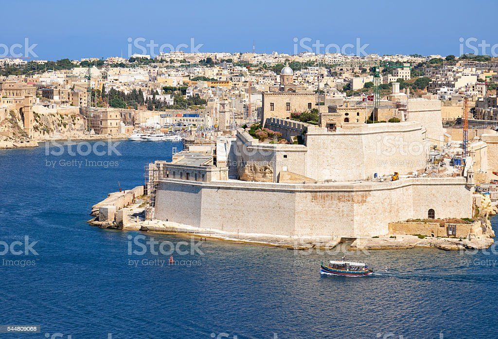 The view of Fort Saint Angelo from the bordering terrace stock photo