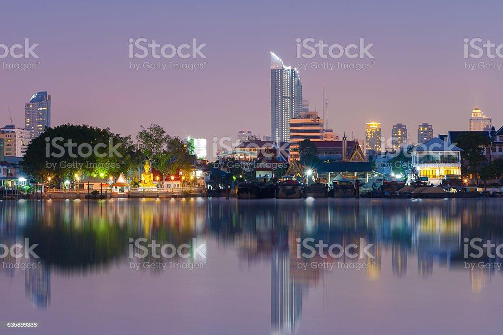 The view of  Inbanjong temple buddha stock photo