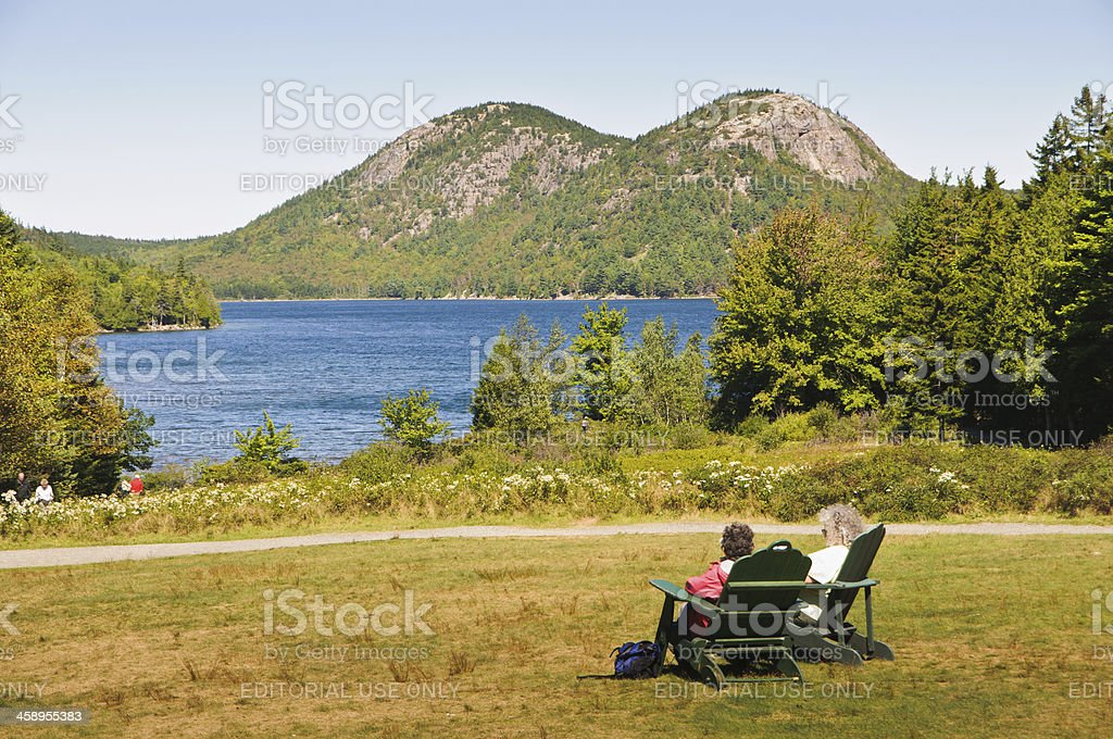 The View of Jordan Pond stock photo