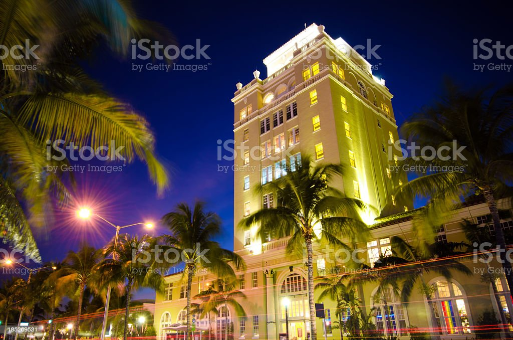The view of Old City Hall in Miami Beach, Florida at night stock photo