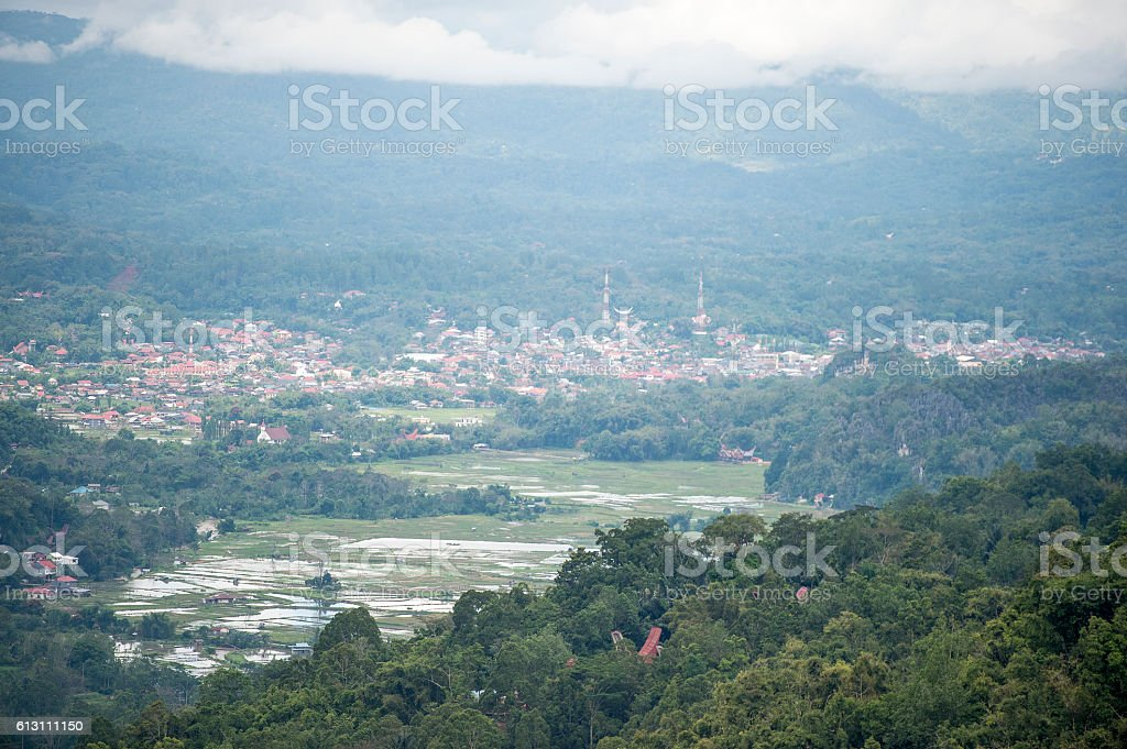 The view of Rantepao Town from Batan Pangala village stock photo