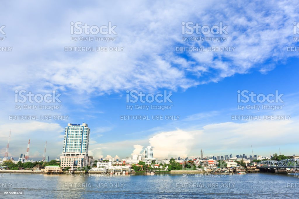 BANGKOK, THAILAND - MARCH 25, 2017 : The view of Riverside Building near Chao Phraya River are beautiful . The Main river in Bangkok is important for transportation . Thailand. stock photo
