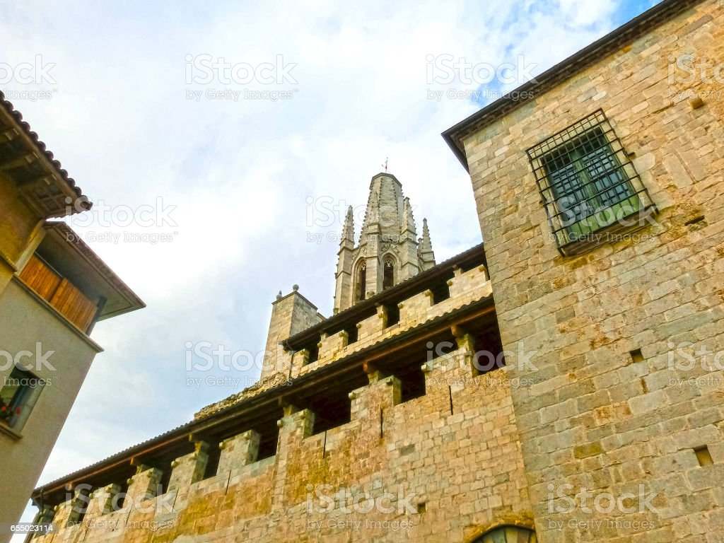 The view of Saint Mary Cathedral in Girona, Spain stock photo