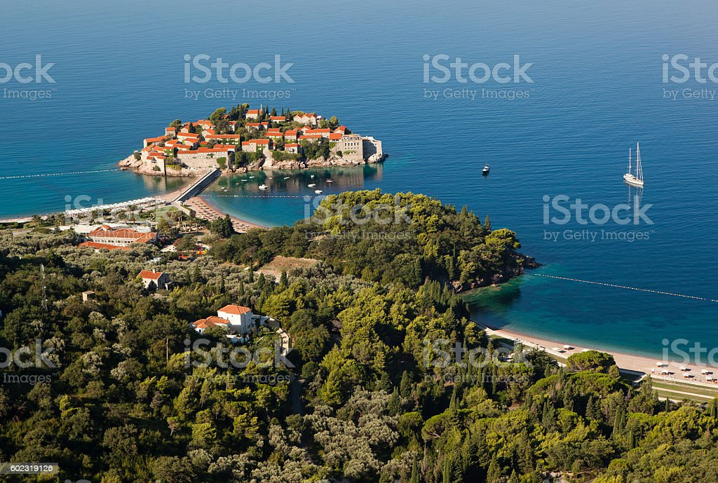 The view of Sveti Stefan from the hill, Montenegro. stock photo
