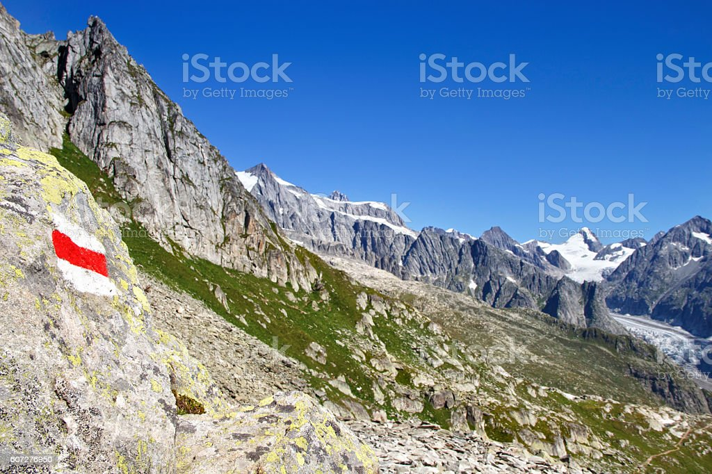 The View of the Aletsch glacier and  Mountains stock photo